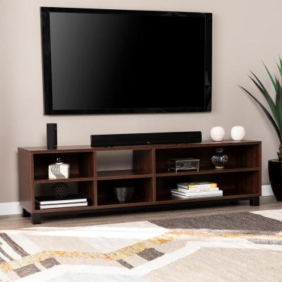 Erdelle 65 in. Walnut and Black Wood TV Stand Fits TVs Up to 68 in. with Open Storage