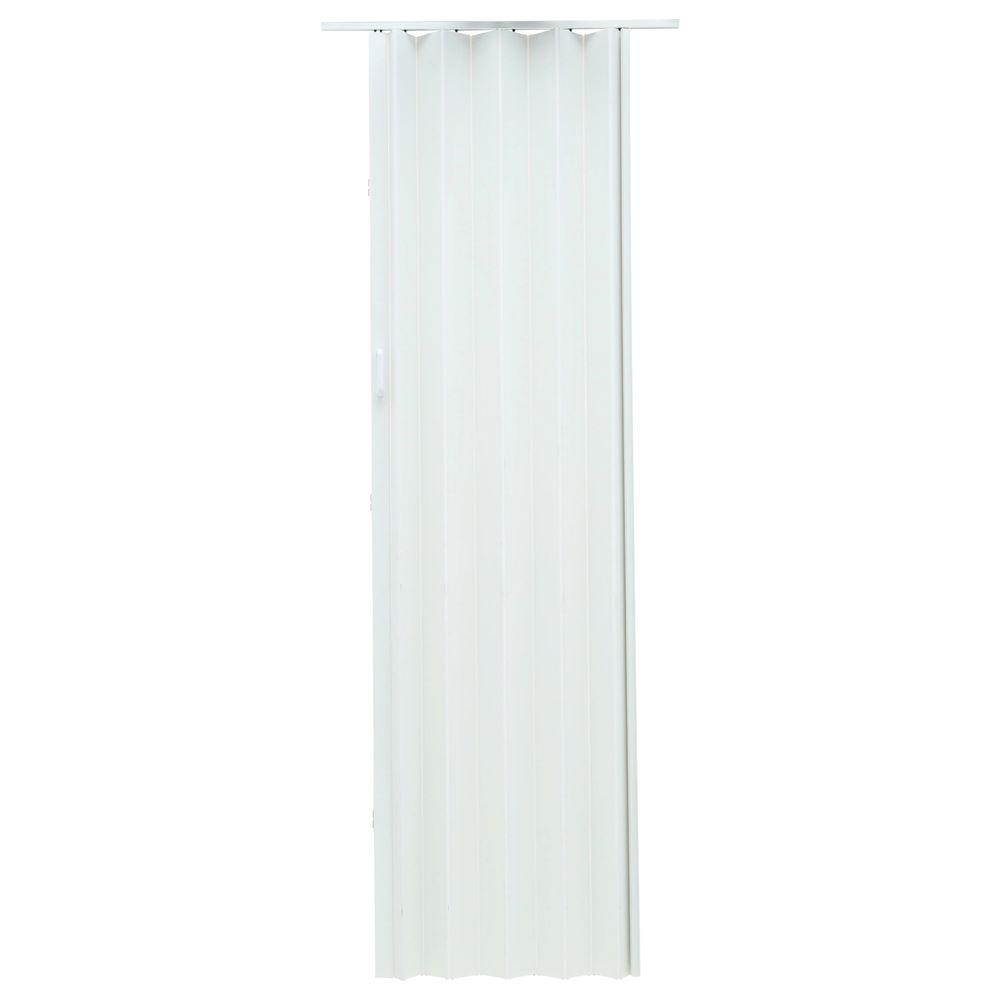 36 in. x 96 in. Express One Vinyl White Accordion Door