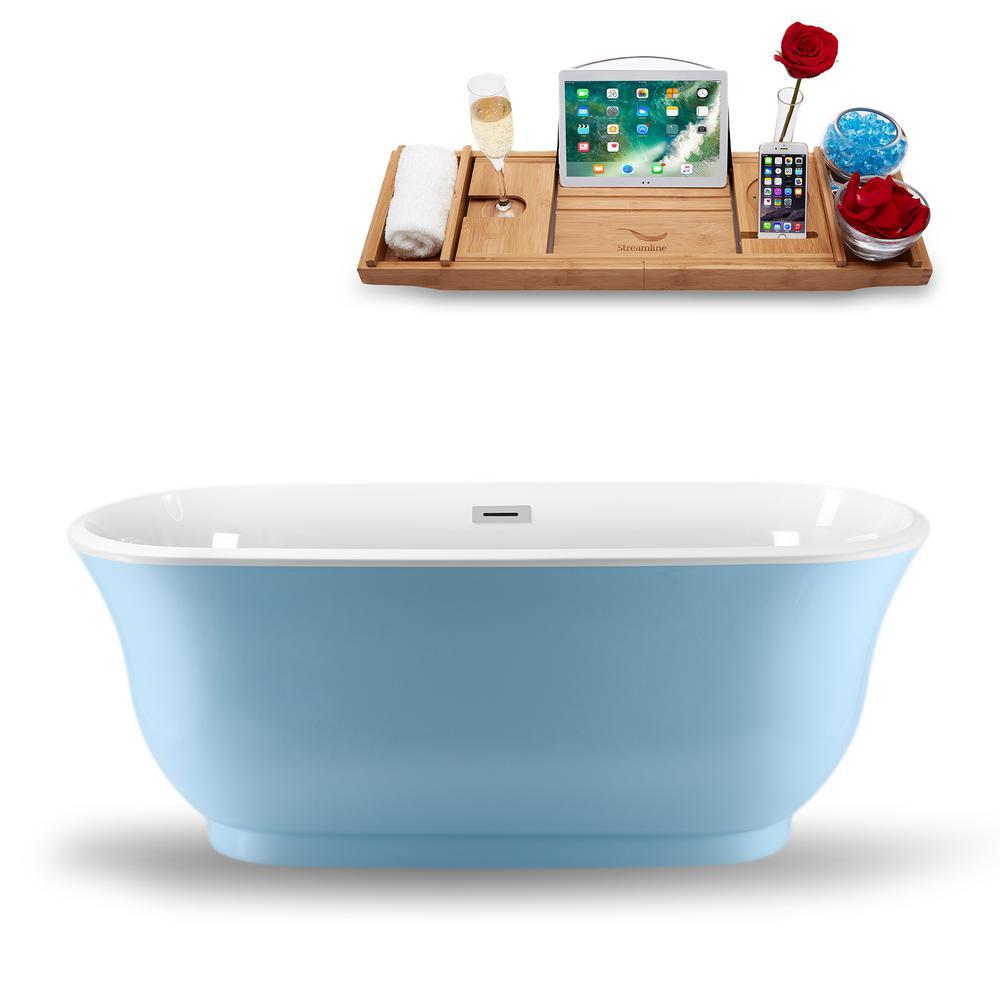 59.1 in. Acrylic, Fiberglass Flatbottom Non-Whirlpool Bathtub in Glossy Blue