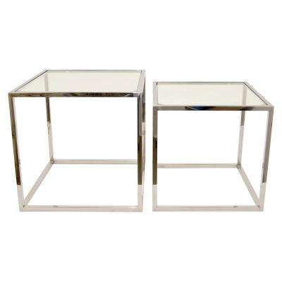 22.25 in. x 22.25 in. Silver Metal/ Glass Table (Set of 2)