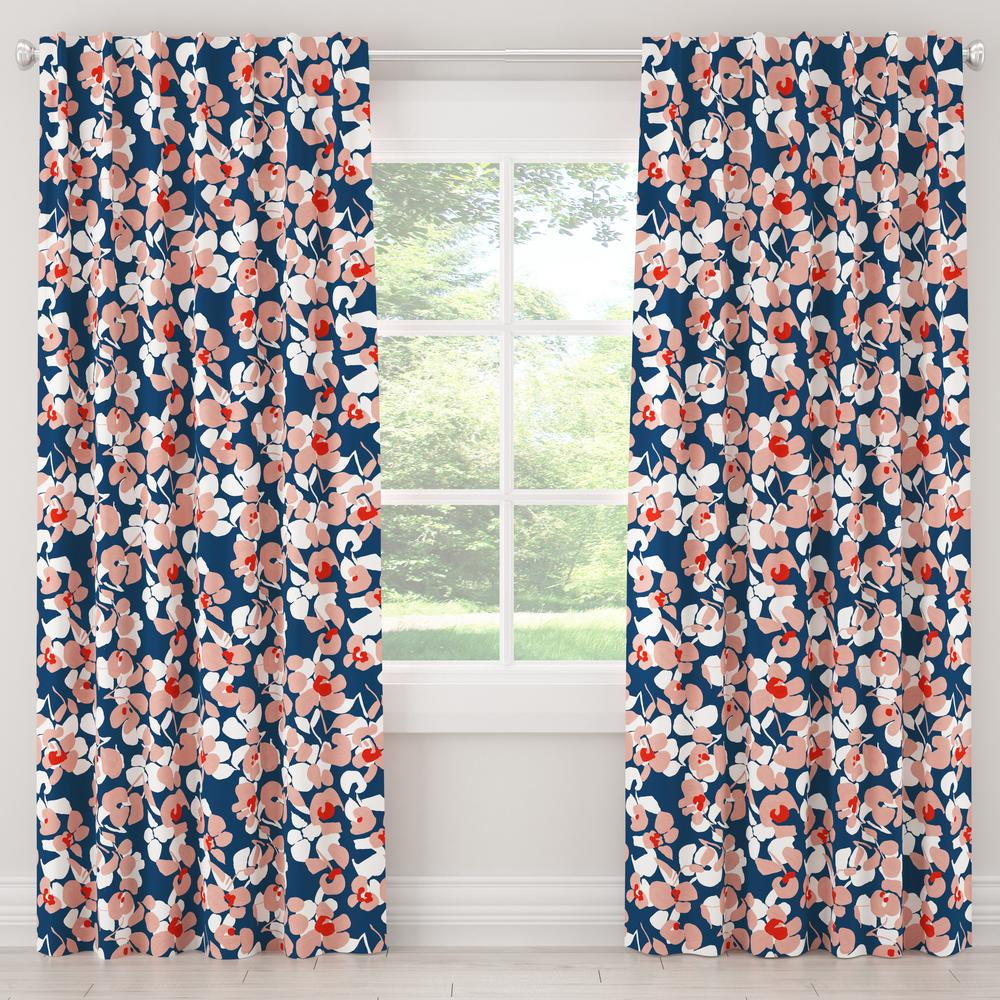 Skyline Furniture 50 in. W x 63 in. L Blackout Curtain in Color Block Floral Navy Blush