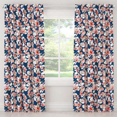 50 in. W x 63 in. L Blackout Curtain in Color Block Floral Navy Blush