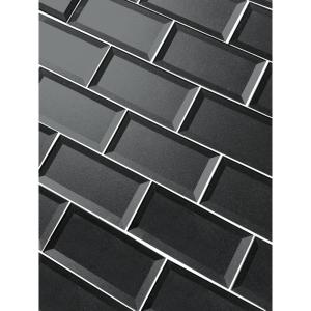 "Subway 3"" x 6"" Handmade Metallic Gray Beveled Glossy Glass Peel & Stick Decorative Bathroom Wall Tile Backsplash (8 Pk)"