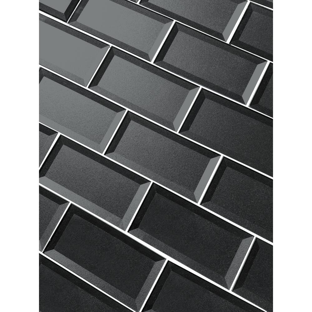 "Subway 3"" x 6"" Handmade Metallic Gray Beveled Glossy Glass Peel & Stick Decorative Bathroom Wall Tile Backsplash Sample"