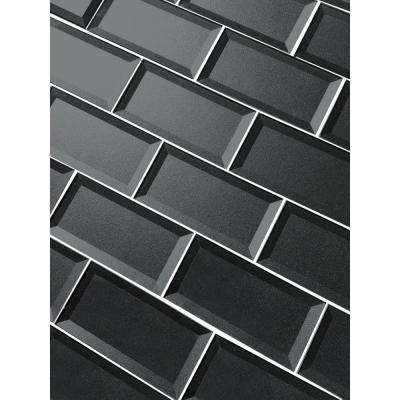 3 in. x 6 in. Secret Dimensions Gray Glass Beveled 3D Peel and Stick Decorative Wall Tile Backsplash Sample