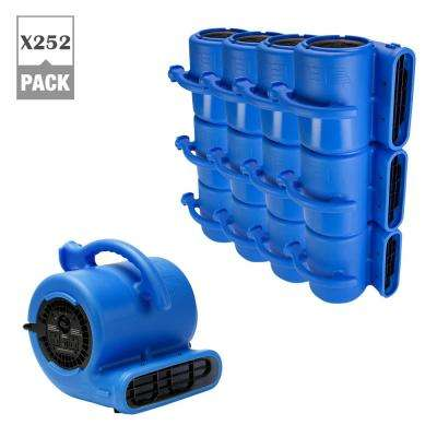 1/4 HP Air Mover for Water Damage Restoration Plumbing Carpet Dryer Floor Blower Fan in Blue (252-Pack)