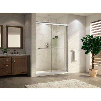 Catalina Lux Premium 60 in. x 76 in. Frameless Sliding Shower Door in Chrome with Tempered Clear Glass