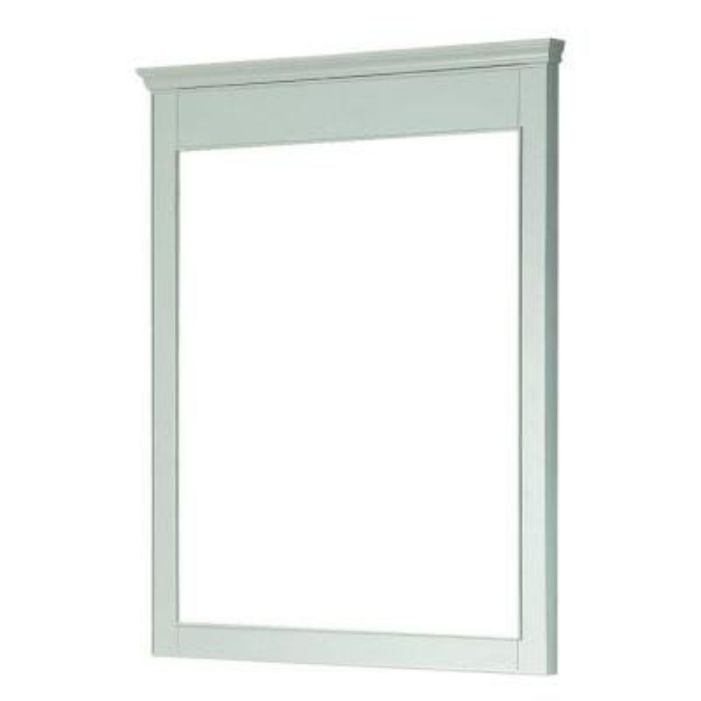 Windsor 34 in. W x 38 in. H Framed Rectangular Beveled Edge Bathroom Vanity Mirror in White