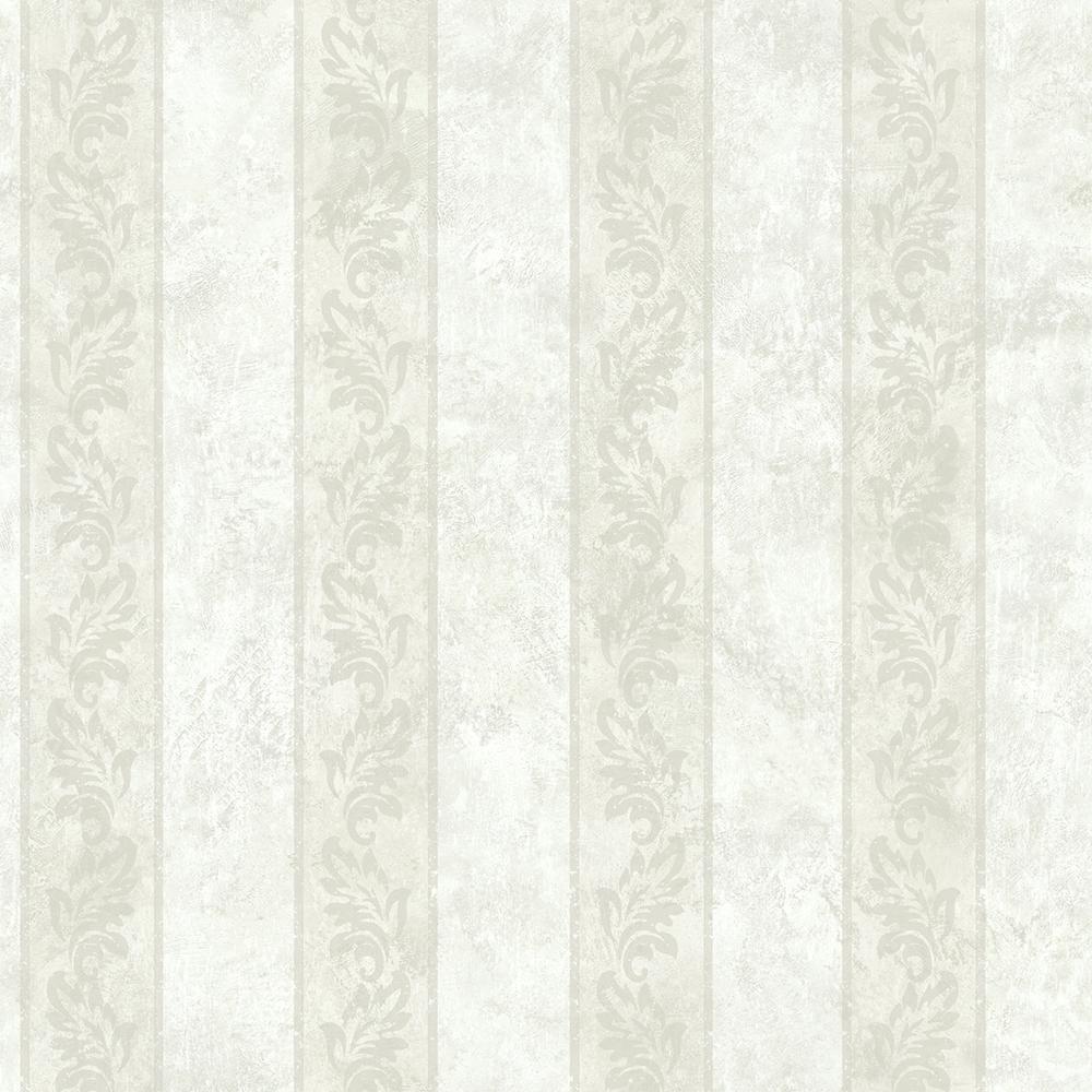 Brewster Evelin Cream Ornate Stripe Wallpaper Sample ARB67583SAM