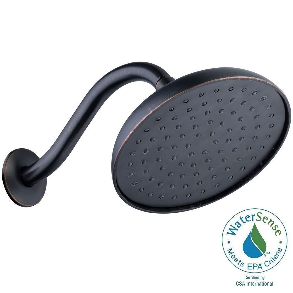 Pegasus 1-Spray 7.5 in. Water Generated Engine Showerhead with Shower Arm and Flange in Mediterranean Bronze