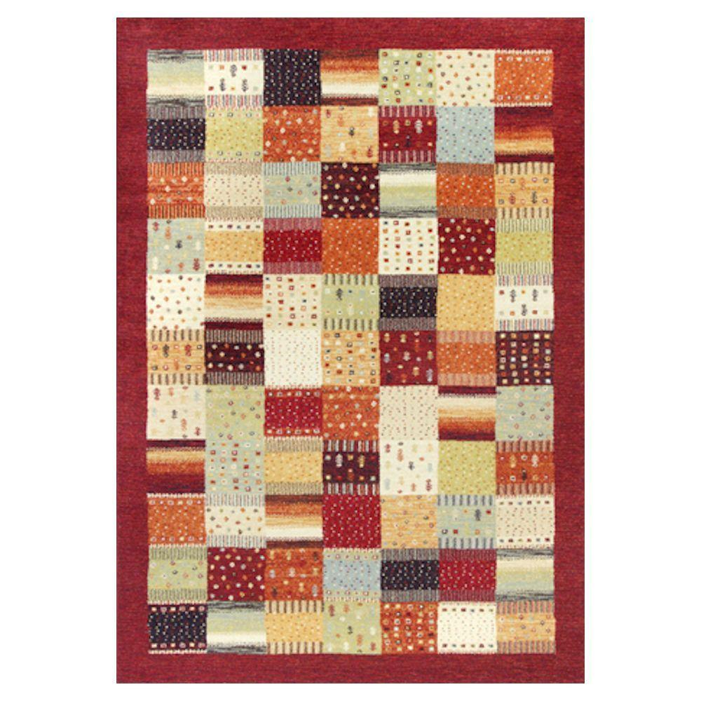 Kas Rugs Quilted Relief Red/Ivory 7 ft. 10 in. x 11 ft. 2 in. Area Rug