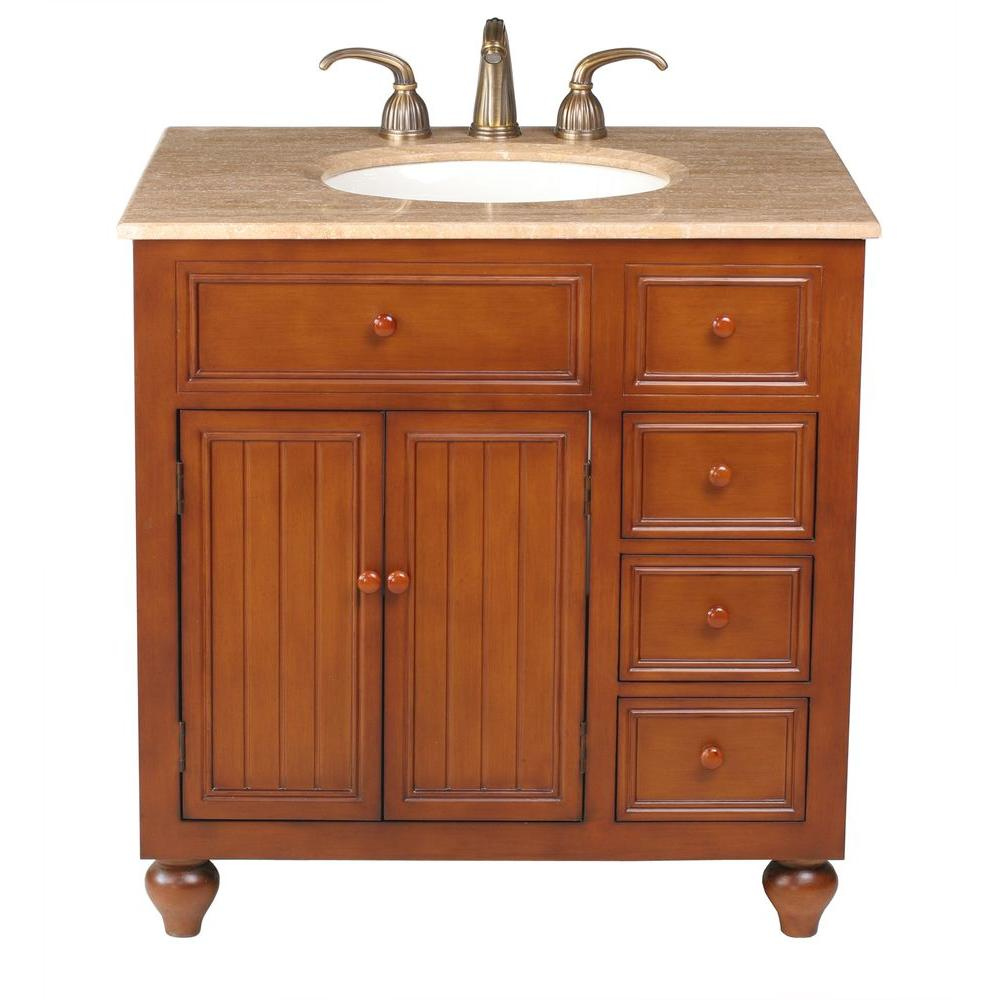 stufurhome Mary 36 in. Vanity in Dark Cherry with Marble Vanity Top in Travertine with White Undermount Sink