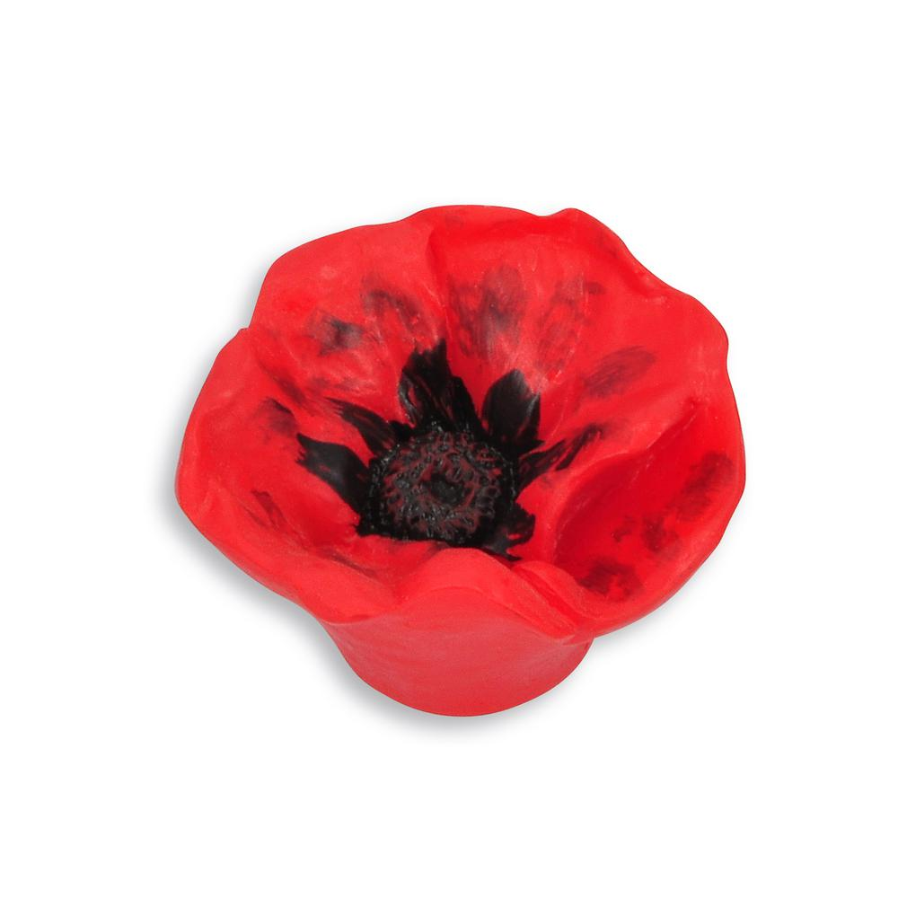 Flowers 1.95 in. Red Poppy Drawer Knob