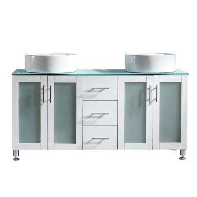 Tuscany 60 in. W x 22 in. D x 30 in. H Vanity in White with Glass Vanity Top in Aqua Green with White Basin