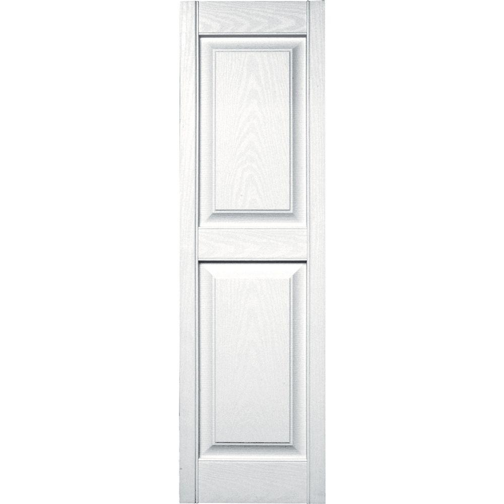 Builders Edge 15 in. x 51 in. Raised Panel Vinyl Exterior Shutters Pair in #001 White