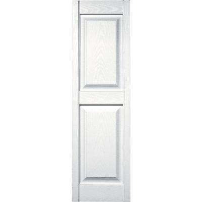 15 in. x 51 in. Raised Panel Vinyl Exterior Shutters Pair in #001 White