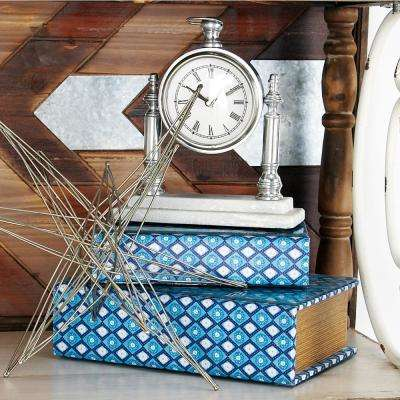 10 in. x 8 in. White Marble Base Pocket Watch Style Aluminum Table Clock