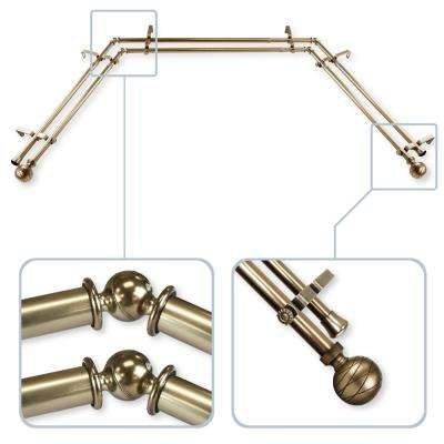 Arman 13/16 in. Bay Window Double Curtain Rod 20 in. 36 in. 38 in. 72 in. - Antique Brass