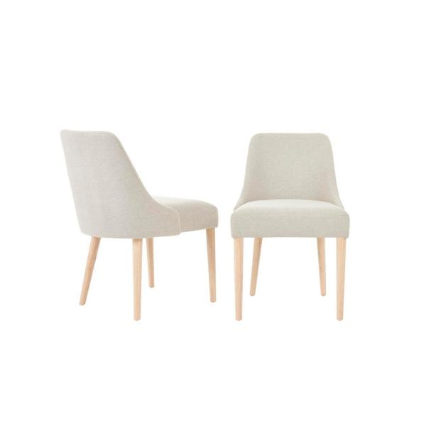 Benfield Natural Finish Upholstered Dining Chair with Biscuit Beige Seat (Set of 2) (20.6 in. W x 32 in. H)
