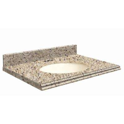37 in. W x 19 in. D Granite Vanity Top in Giallo Ornamental with Biscuit Basin