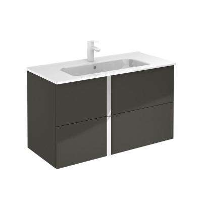 Onix 40 in. W x 18 in. D Bath Vanity in Anthracite with Ceramic Vanity Top in White
