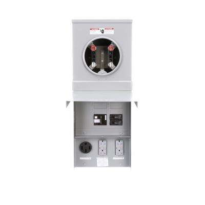 125 Amp Main Lug Top Feed Metered Ring 14-50 Receptacle with GFCI Breaker Pedestal Mount Temporary Power Outlet Panels
