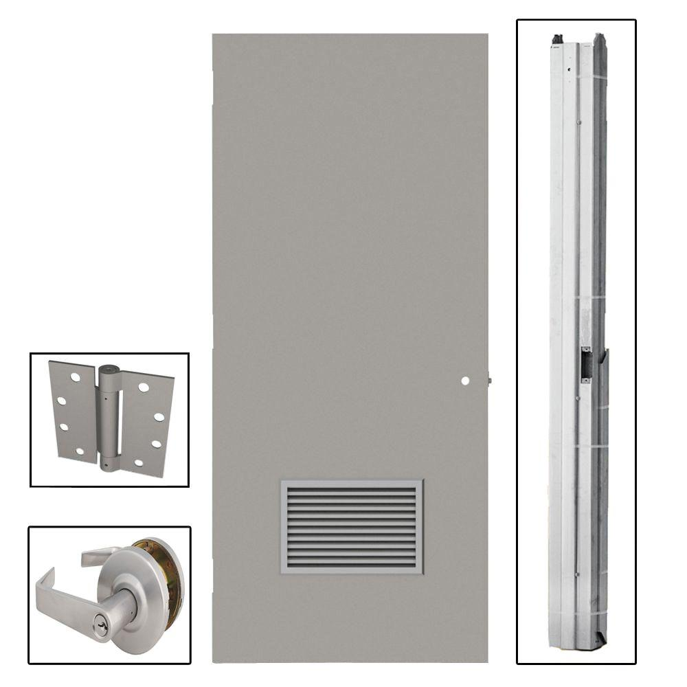 24 Inch Exterior Door Home Depot: L.I.F Industries 36 In. X 80 In. Flush Gray Steel Louvered