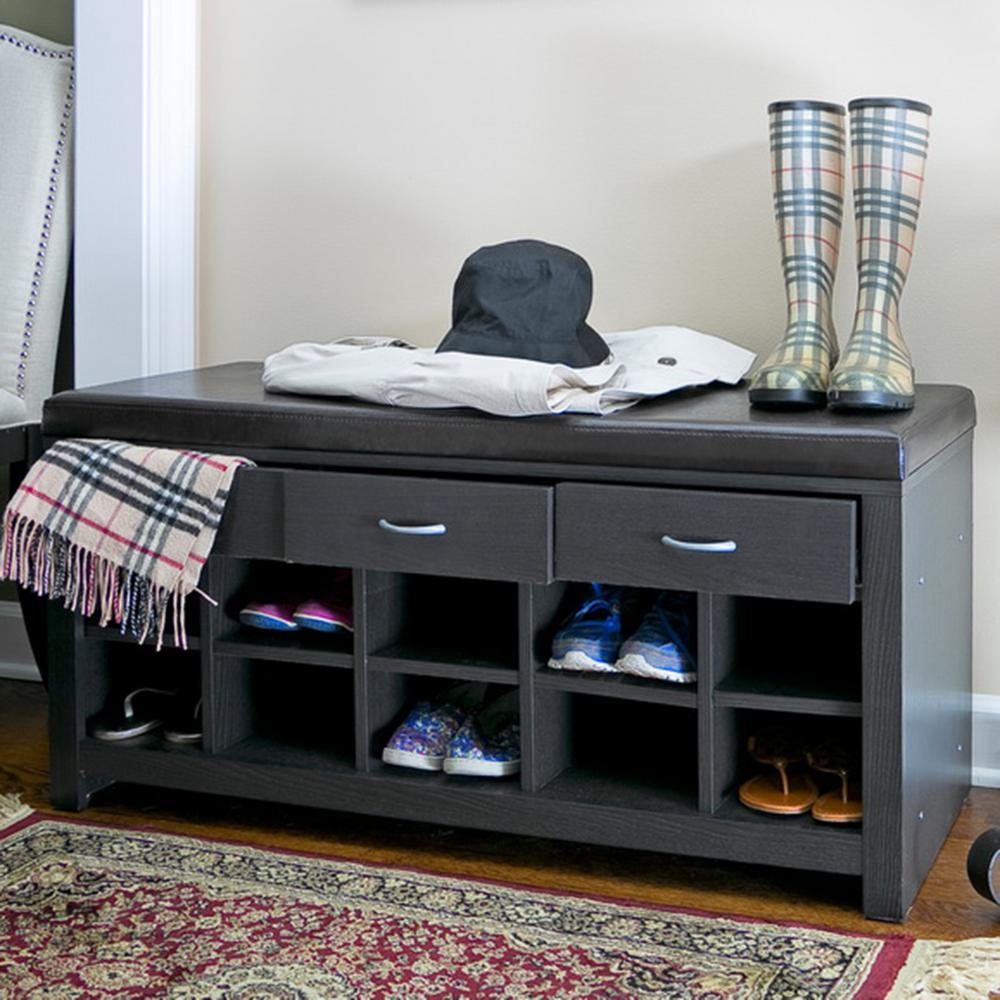 Baxton Studio 10 Pair Shir Dark Brown Wood Storage Bench Shoe Organizer