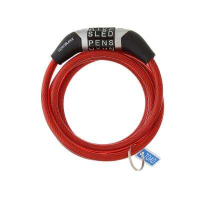 4 ft. Steel Non-Resettable Flexible Bike Cable Combination Lock in Red