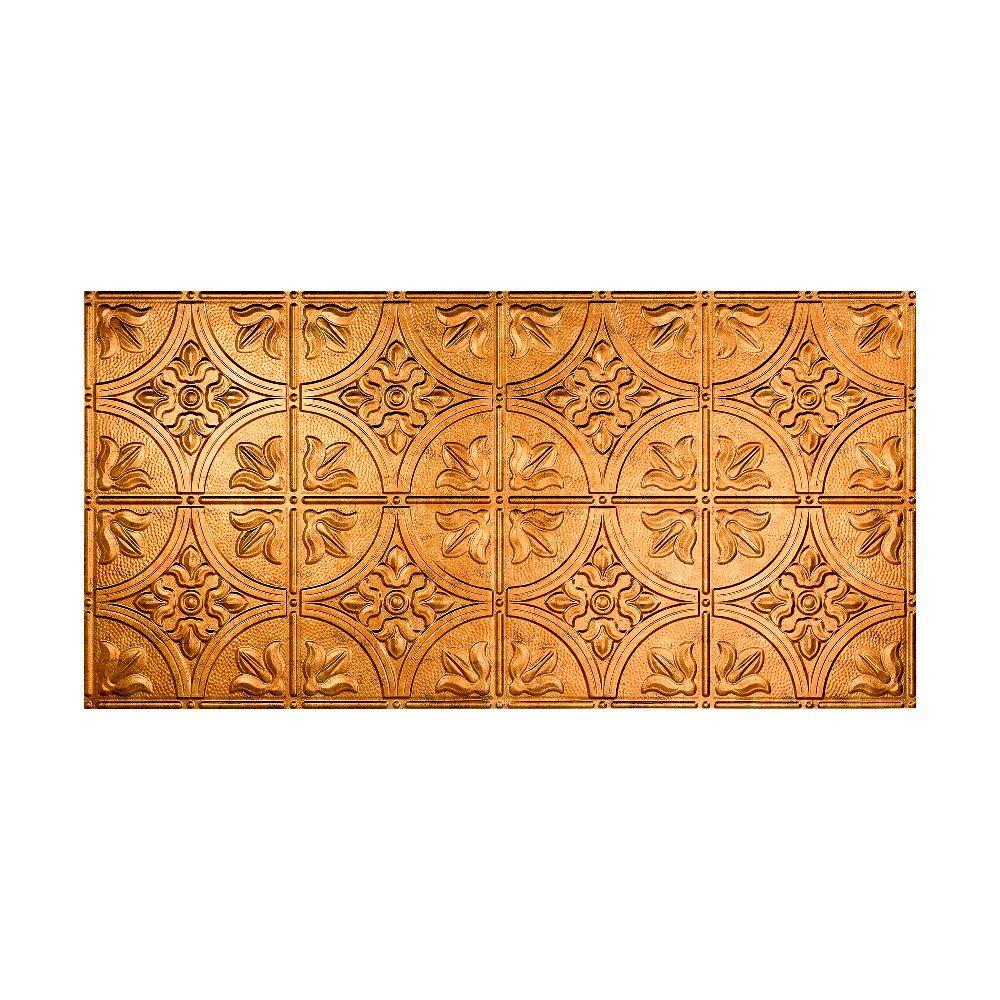Fasade Traditional Style # 2 - 2 ft. x 4 ft. Vinyl Glue-Up Ceiling Tile in Muted Gold
