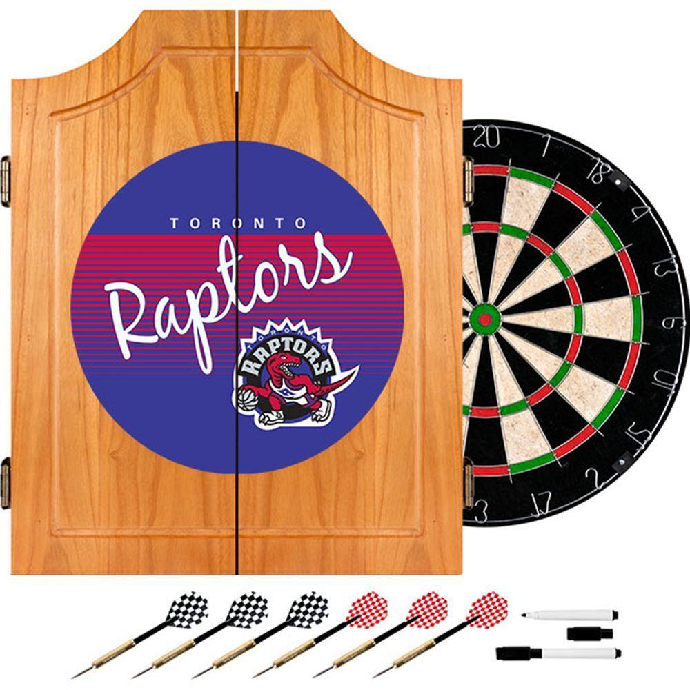 20.5 in. Toronto Raptors Hardwood Classics NBA Wood Dart Cabinet Set