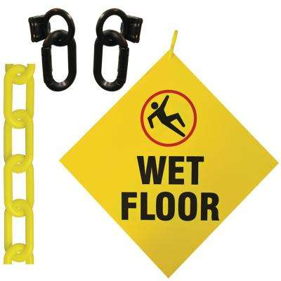 Wet Floor Sign 8 in. x 8 in. with 12 ft. Yellow Plastic Chain