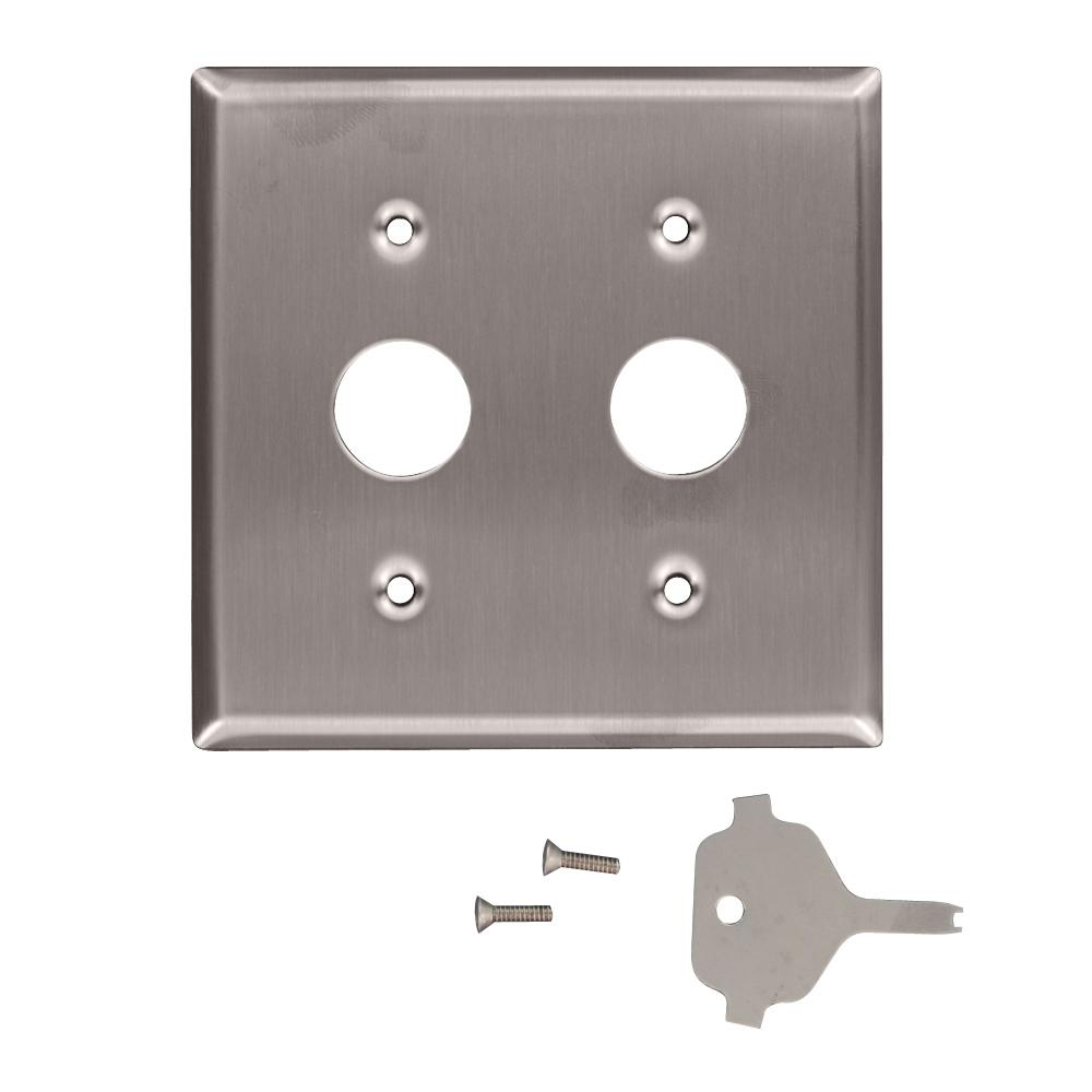 2-Gang Standard Size Key Lock Power Switch Wall Plate with Spanner
