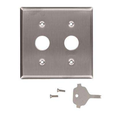 2-Gang Standard Size Key Lock Power Switch Wall Plate with Spanner Screws and Tool, Stainless Steel