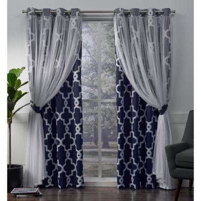 Alegra 52 in. W x 96 in. L Layered Sheer Blackout Grommet Top Curtain Panel in Indigo (2 Panels)