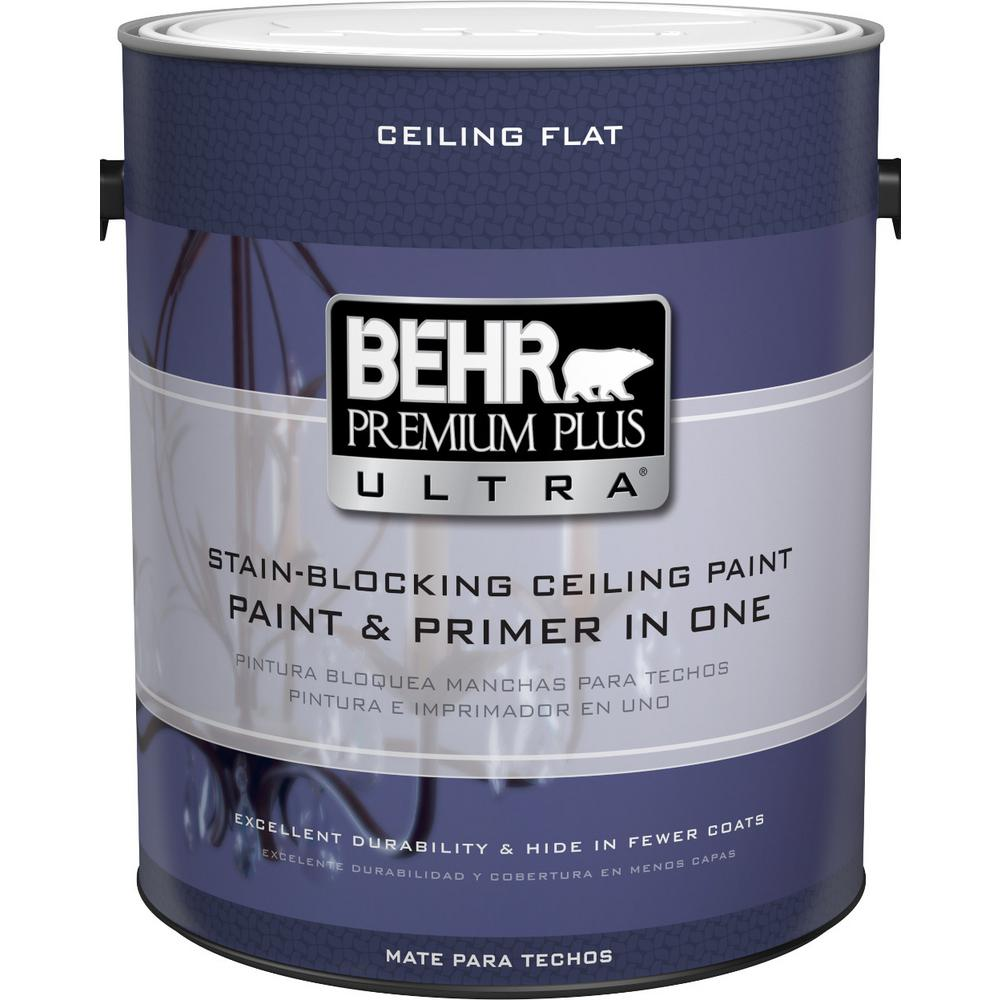 Behr Premium Plus Ultra 1 Gal Ultra Pure White Ceiling Interior Paint And Primer In One 555801