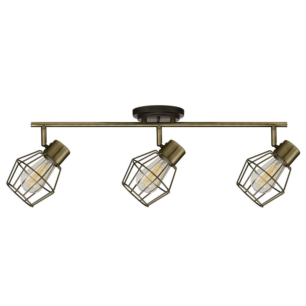 Globe Electric 24 In 3 Light Antique Pewter Tracking Lighting Kit Bulbs Included