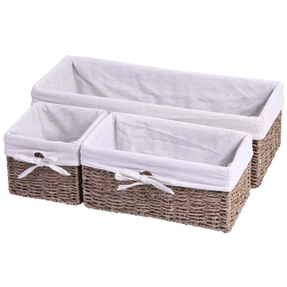 Vintiquewise 19.75 in. x 6 in. Seagrass Shelf Storage Baskets with Lining  (3-Set)