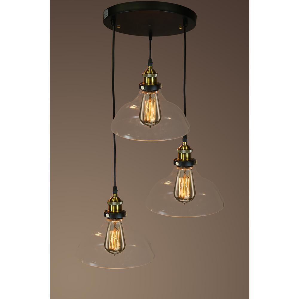 Edison Esmie Collection 1-Light Black Clear Glass Indoor Pendant ...