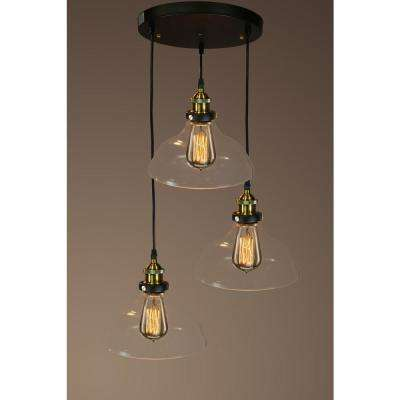 Black no additional accessories mini pendant lights lighting edison esmeralda collection 3 light black clear glass indoor hanging lamp aloadofball Image collections