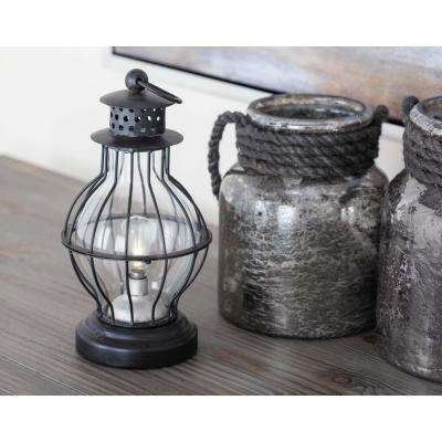 Vintage Black Iron Classic Bulb-Shaped LED Lantern