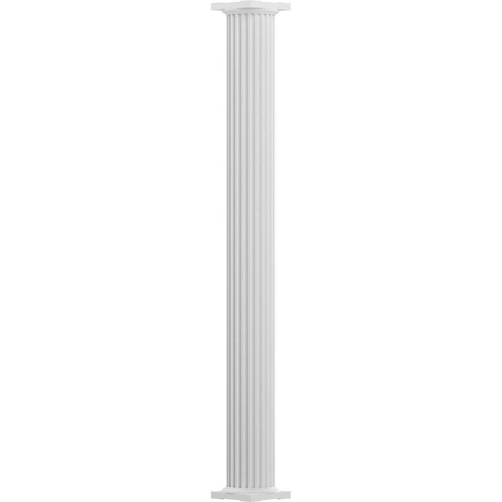 6 in. x 10 ft. Textured White Non-Tapered Fluted Round Shaft
