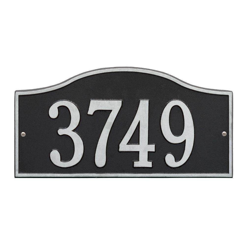 Rolling Hills Rectangular Black/Silver Standard Wall One Line Address Plaque