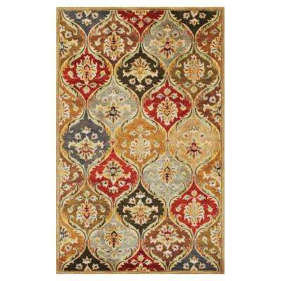 Perfect Panel Beige/Red 3 ft. x 5 ft. Area Rug