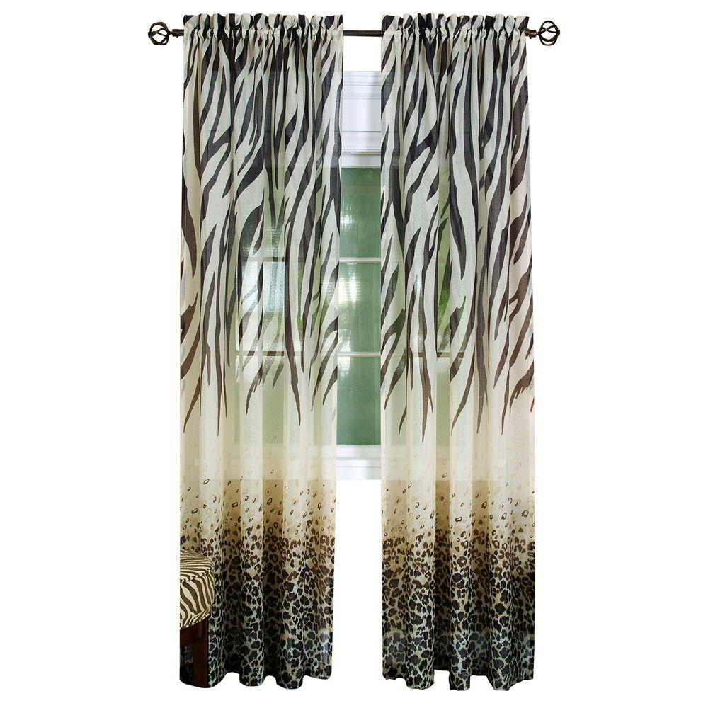 Achim Semi Opaque Brown Kenya Curtain Panel 50 In W X 84 L