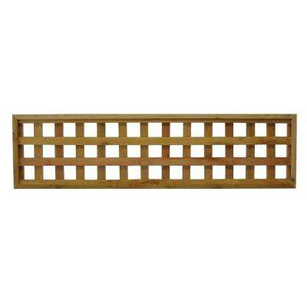 45.75 in. x 12 in. Checkerboard Pattern Western Red Cedar Framed Lattice Fence Panel (2-Pack)