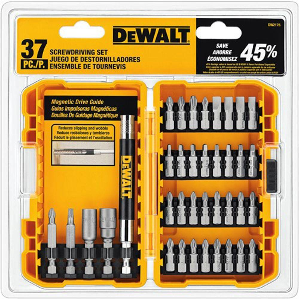 dewalt screwdriving set with tough case 37 piece dw2176 the home depot. Black Bedroom Furniture Sets. Home Design Ideas