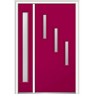 50 in. x 80 in. Davina Frosted Glass Right-Hand Inswing 3-Lite Modern Painted Steel Prehung Front Door with Sidelite