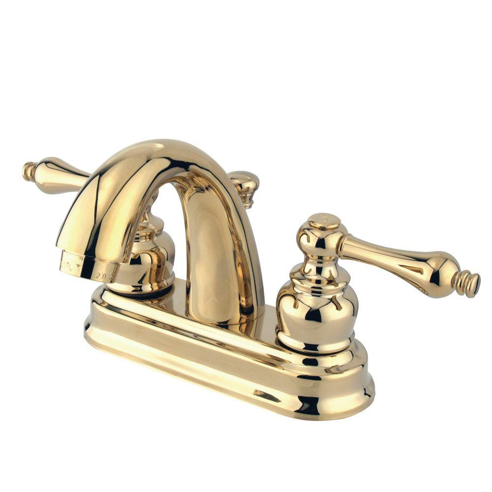 Kingston Brass Restoration 4 In Centerset 2 Handle Mid Arc Bathroom Faucet In Polished Brass