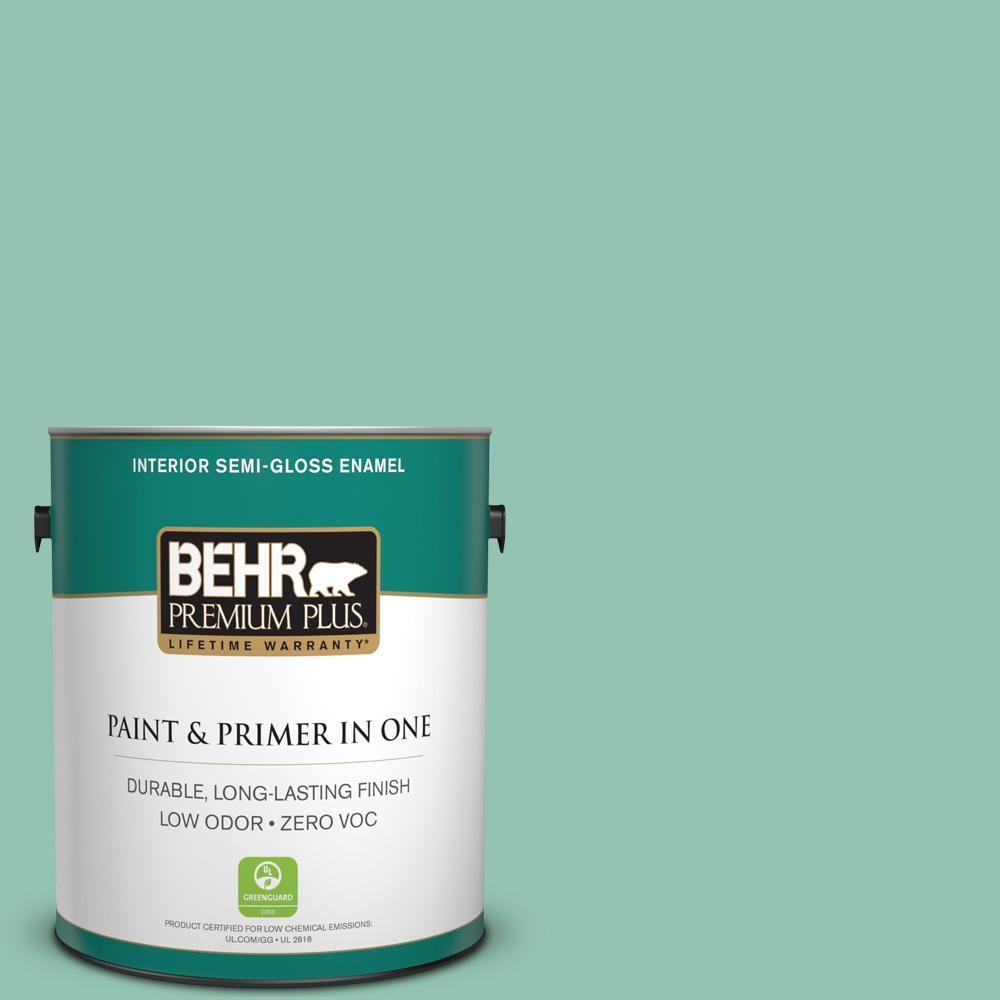 1-gal. #M420-4 Jade Mountain Semi-Gloss Enamel Interior Paint